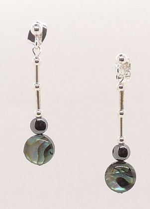 Abalone Shell & Hematite Earrings