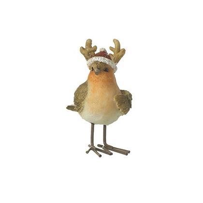 Standing Robin with Reindeer Hat