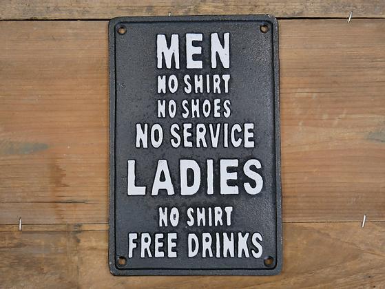 Men No Service Women Service Plaque