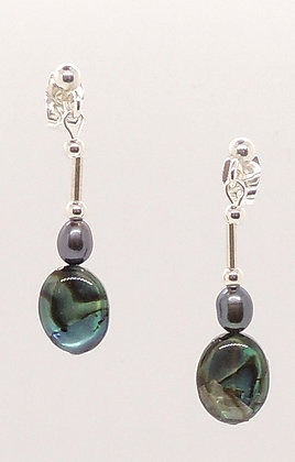 Abalone Shell & Freshwater Rice Pearl Oval Earrings