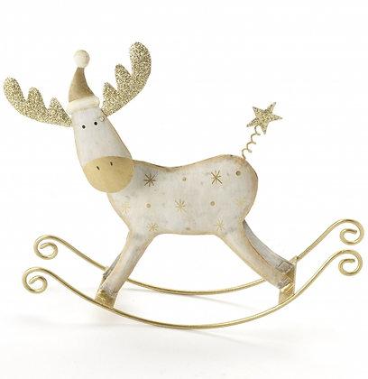 Cream Metal Rocking Reindeer
