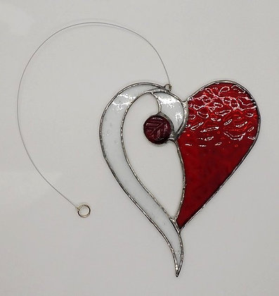 Red Beaded Hanging Heart