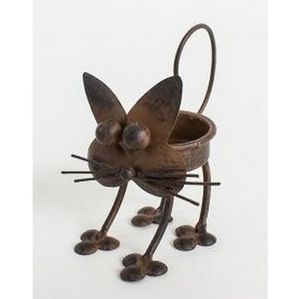 Metal Rustic style Cat tealight holder