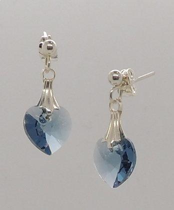 Crystal Denim Blue Heart Earrings