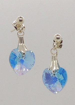 Crystal Light Blue Heart Earrings