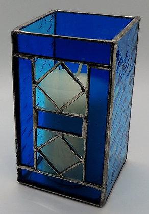 Blue Square Bevel Candle Holder