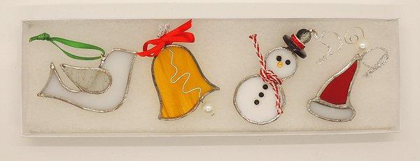 Glass Jingle Bells Dec Set