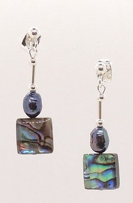 Abalone Shell & Freshwater Rice Pearl Square Earrings