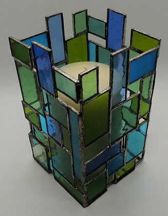 Blue & Green Rectangle Large Candle Holder