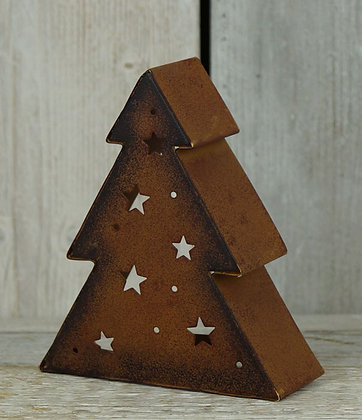 Copper Xmas Tree Tealight Holder