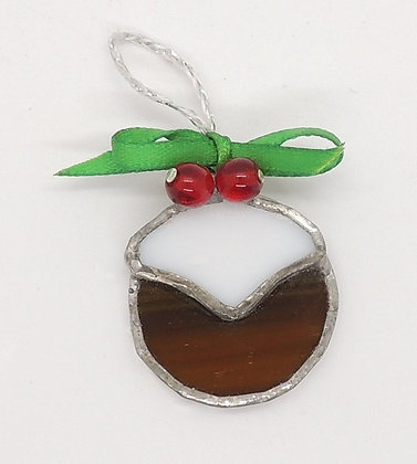 Glass Christmas Pudding Decoration