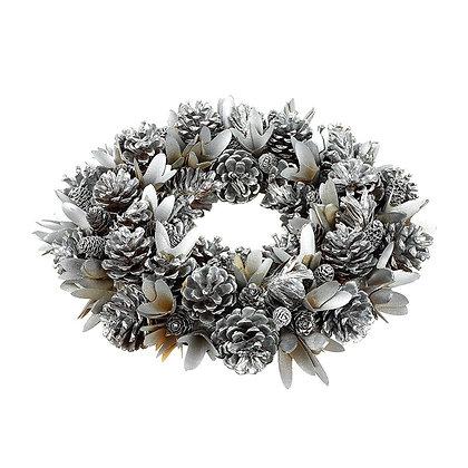 Silver Pinecone Wreath