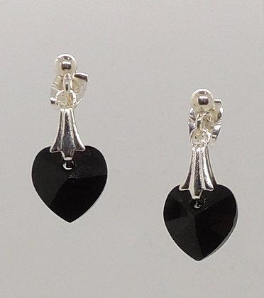 Crystal Black Heart Earrings