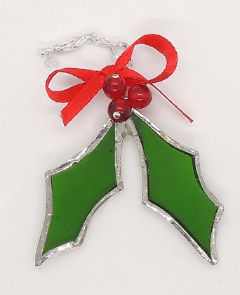 Glass Holly Decoration