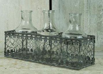 Triple Glass Bottles in Filigree Basket