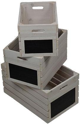 Set of 3 Vintage Grey Wooden Crates