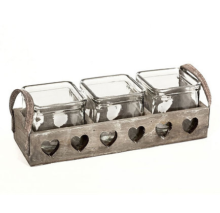 Glass Pots in Greywashed Wooden Tray