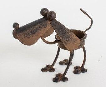 Metal Rustic style Dog tealight holder