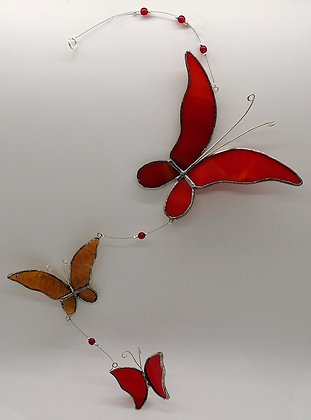Red Butterfly Trio Hanging