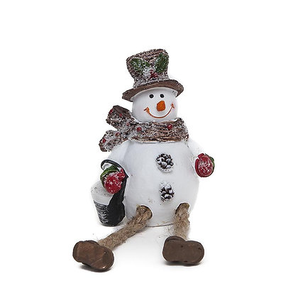 Dangly Legged Sitting Snowmen with Broom