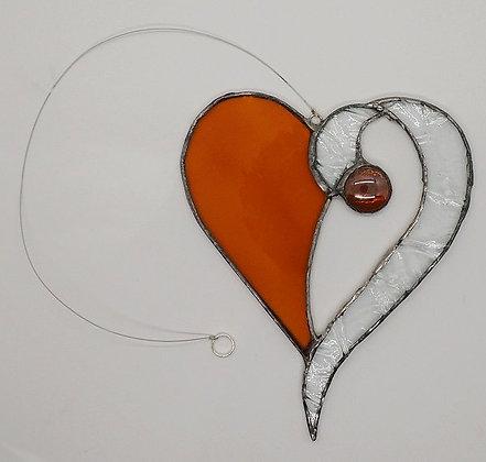 Amber Beaded Hanging Heart