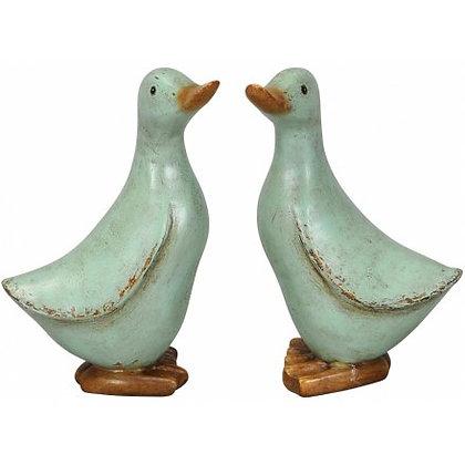 Small Shabby Chic Green Ducks