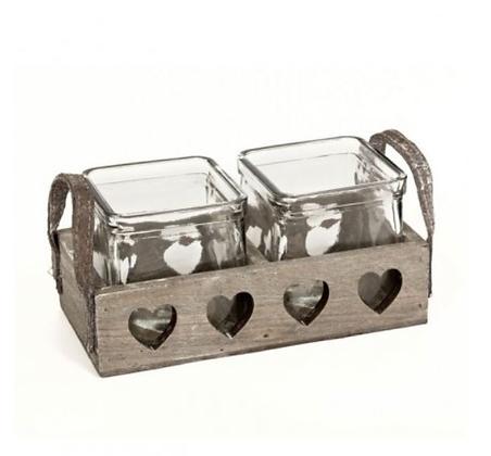 Double Heart Jar Tray