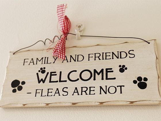 Family and Friends Welcome Fleas Not Sign