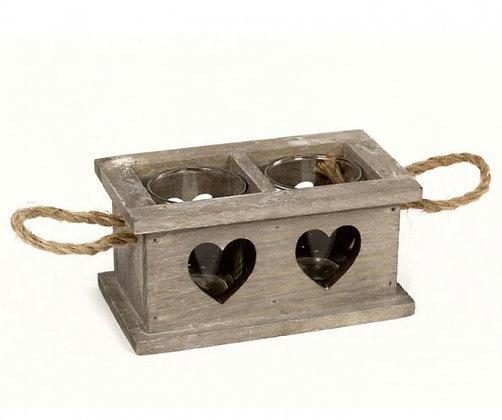 Double Wooden Heart Tealight Holder