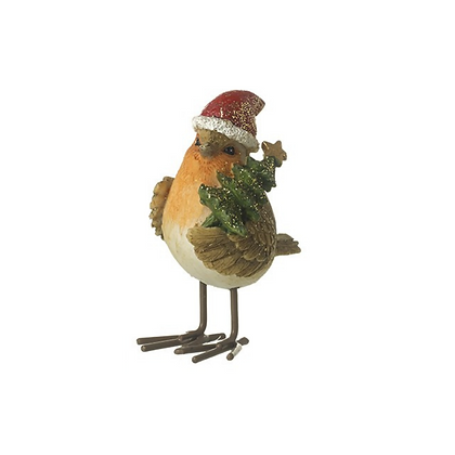 Standing Robin with Santa Hat and holding Xmas Tree