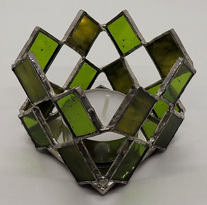 Green Square Illusion Candle Holder