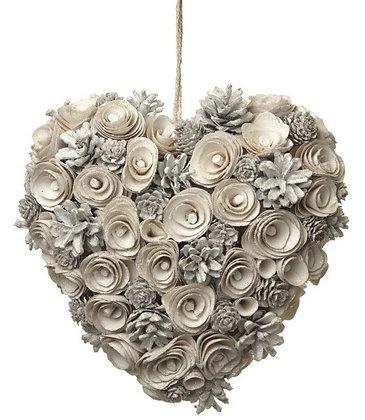 White Pinecone Full Heart Wreath