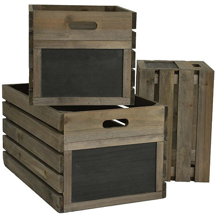 Set of 3 Vintage Natural Wooden Crates