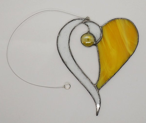 Yellow Beaded Hanging Heart