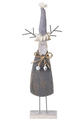 Grey wooden reindeer decoration