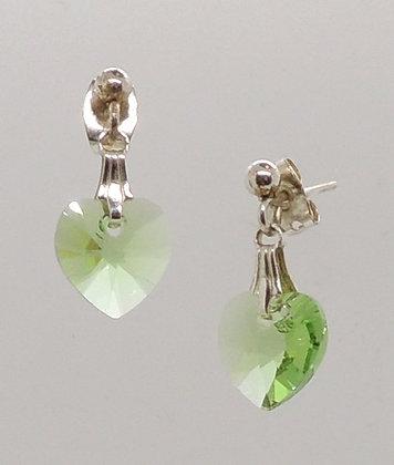 Crystal Light Green Heart Earrings