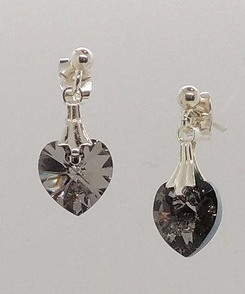 Crystal Grey Heart Earrings