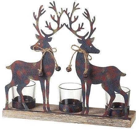 Twin Reindeer T-Light Holder