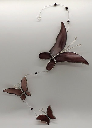 Maroon Butterfly Trio Hanging