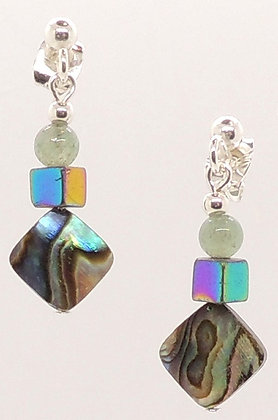 Abalone Shell, Rainbow Hematite & Jade Earrings