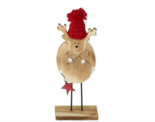 Wooden Reindeer Red Bobble Hat