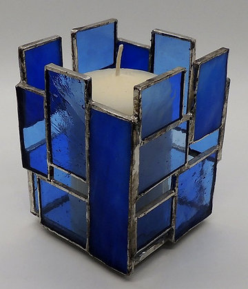 Blue Rectangle Candle Holder