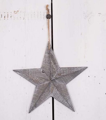 Rustic style 3D Grey washed wooden star
