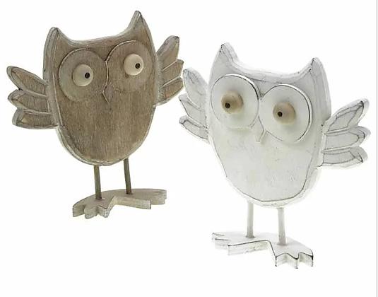 Standing Wooden Owl White