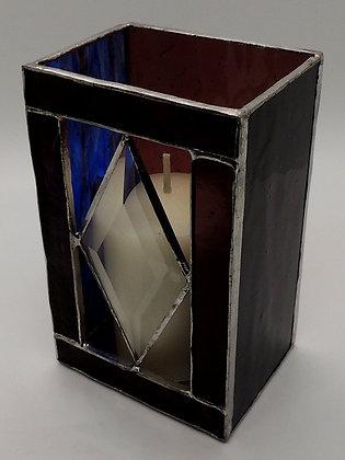 Blue & Maroon Diamond Bevel Candle Holder
