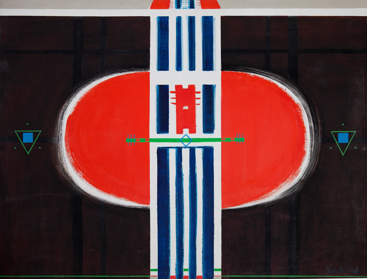 Hannatjie van der Wat | Blue Stripes on Red Oval | 1968 | 102 x 76.5 cm