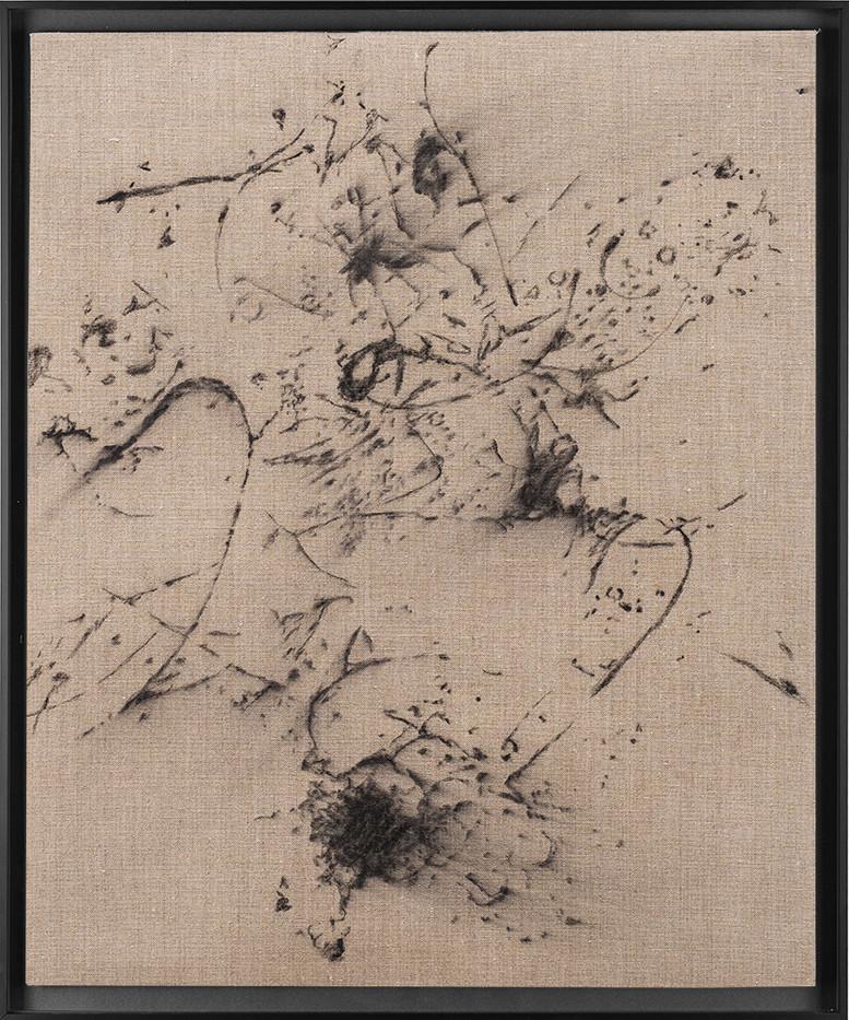Pierre Vermeulen | Hair orchid sweat print drawing I | 2018 | Charcoal on Belgian Linen | 56 x 46 cm