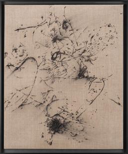 Pierre Vermeulen   Hair orchid sweat print drawing I   2018   Charcoal on Belgian Linen   56 x 46 cm