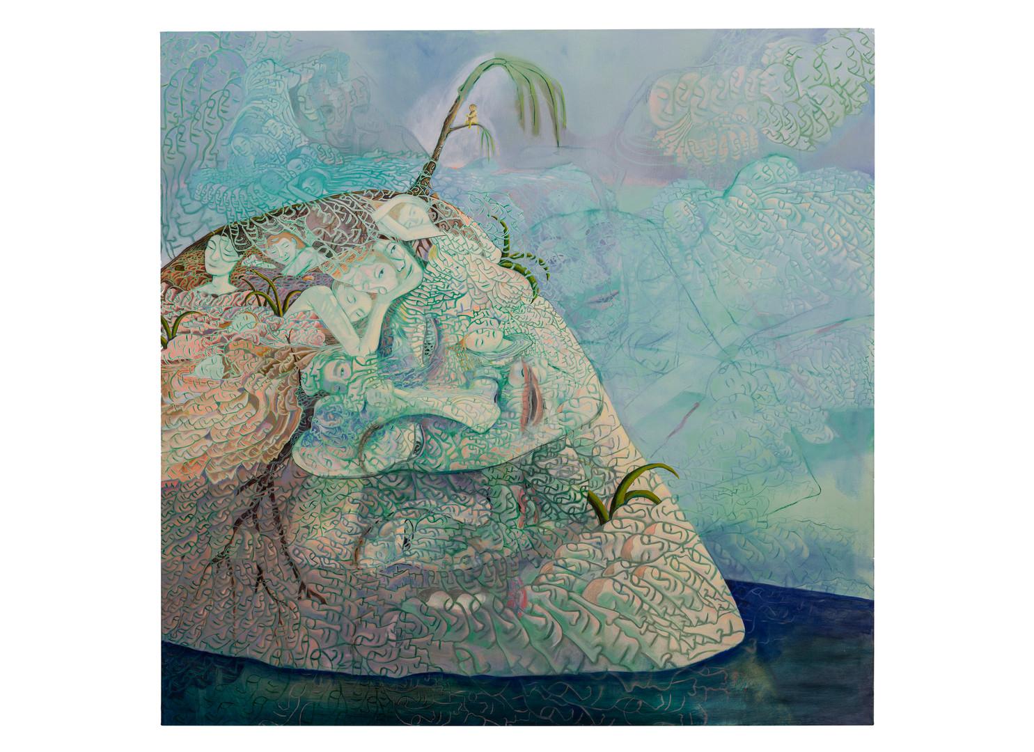 Marlene Steyn | islet of eyelids | 2020 | Oil on Canvas | 190.5 x 190.5 cm