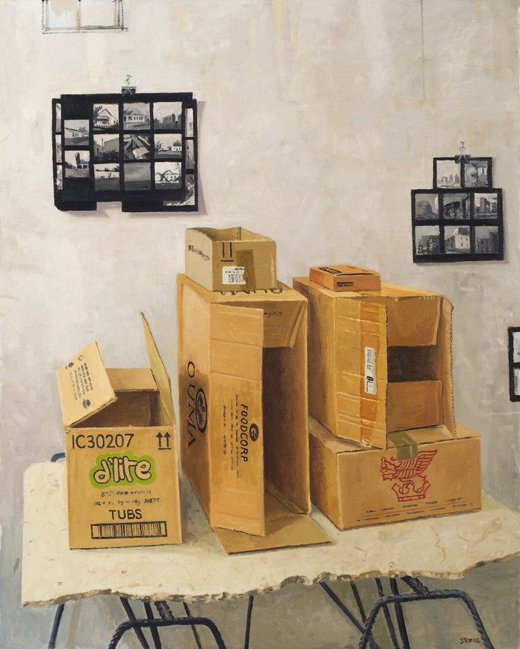 Simon Stone | Boxes with Contact Sheet | 2014 | Oil on Canvas | 116 x 93 cm